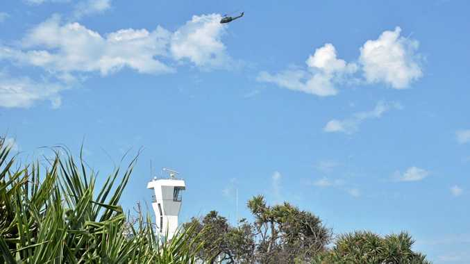 The United States Army helicopter in the skies over the Sunshine Coast this afternoon.