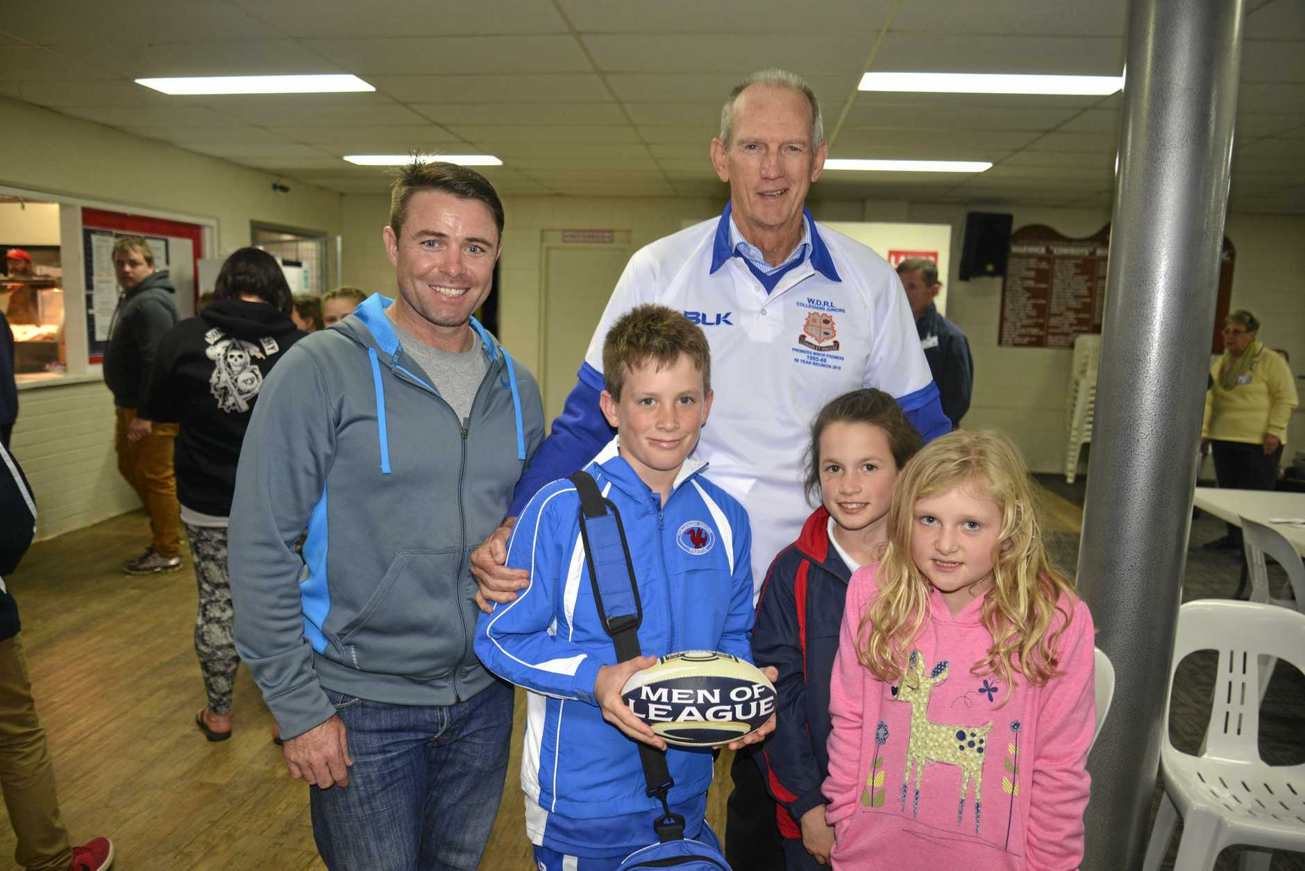 Men of League CEO Frank Barrett and Brisbane Broncos coach Wayne Bennett with Basil Nolan, Lily Nolan and Grace Ball at the Cowboys in 2015.