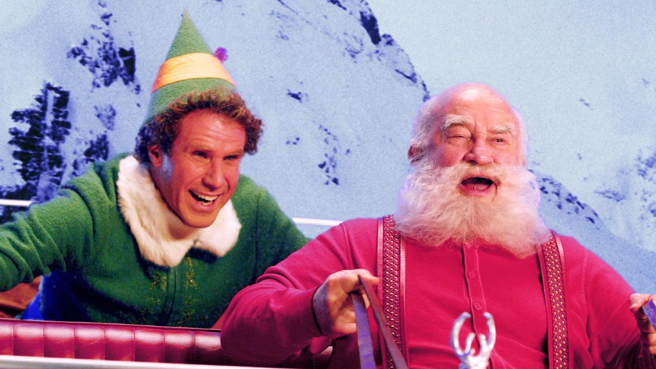Actor Will Ferrell with Ed Asner in scene from film
