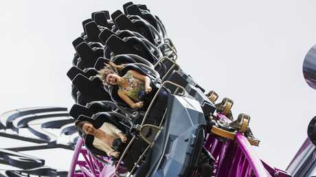The DC Rivals HyperCoaster at Warner Bros Movie World, a park which is still providing the thrills. Picture: Nigel Hallett.