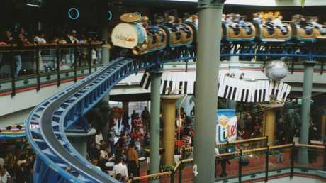The Dazzeland rollercoaster at Adelaide's Myer Centre in its heyday. Picture: News Corp Australia