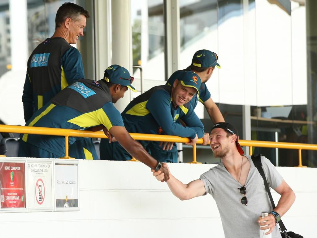 Cameron Bancroft greets Australian players and staff during an Australian training session at the WACA ahead of the second Test between Australia and India. Picture: Getty Images