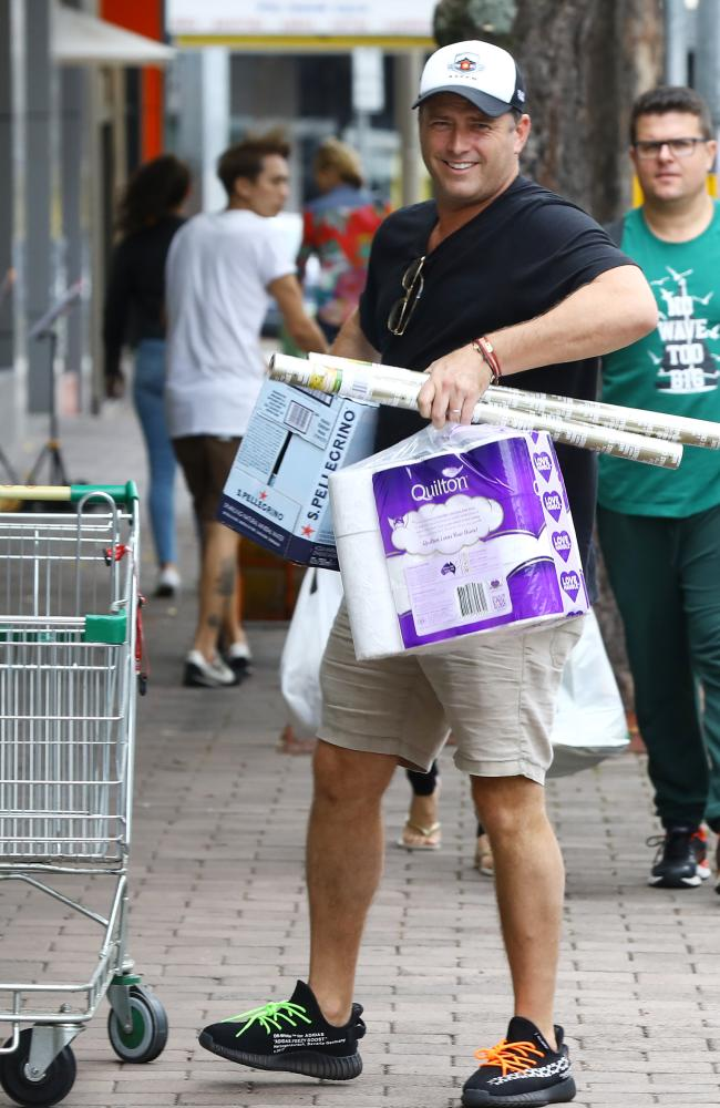 Karl Stefanovic doing some grocery shopping only a day after arriving back home from his honeymoon. Picture: Matrix