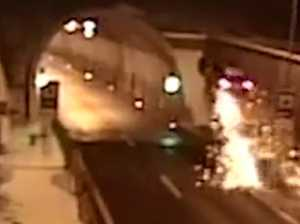WATCH: Terrifying moment car crashes in tunnel
