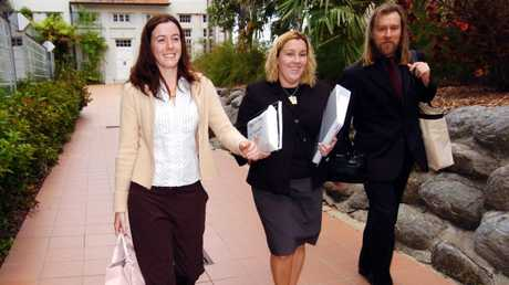 Natasha Ryan leaves court with her legal representatives.