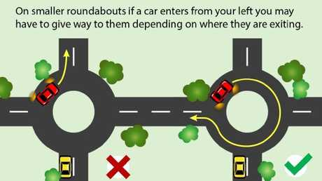 On smaller roundabouts you may even have to give way to cars entering on the left.