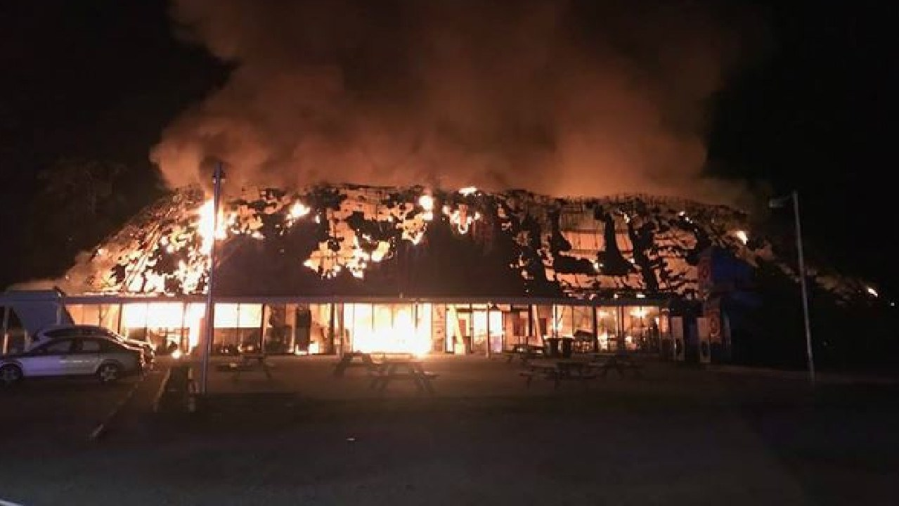 The Rock Roadhouse on the NSW Pacific Highway being destroyed by fire. It was once known as Leyland Brothers World. Picture: News Corp Australia