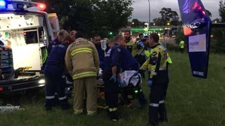 The badly burned man is airlifted to hospital. Picture: CareFlight
