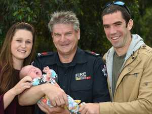 Hero firey delivers bub on roadside