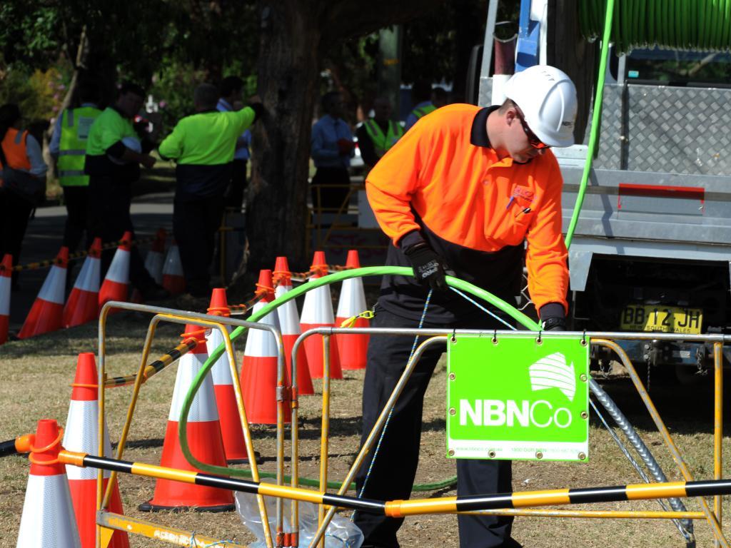 The NBN Co construction team rollout fibre in Penrith.