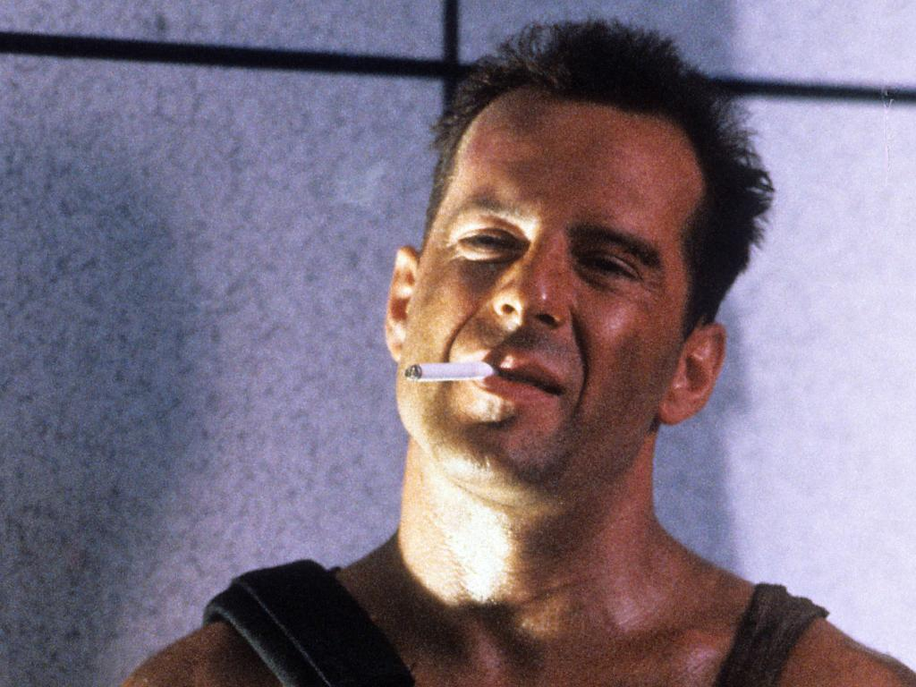 Bruce Willis with cigarette in a scene from the film 'Die Hard', 1988. (Photo by 20th Century-Fox/Getty Images)