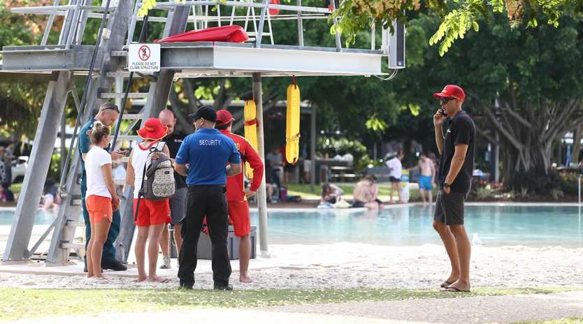 A seven year old boy was taken to Cairns Hospital in a critical condition after being pulled unconscious from the Cairns Lagoon. Cairns Regional Council lifeguards responded to the incident on the Esplanade. PICTURE: BRENDAN RADKE