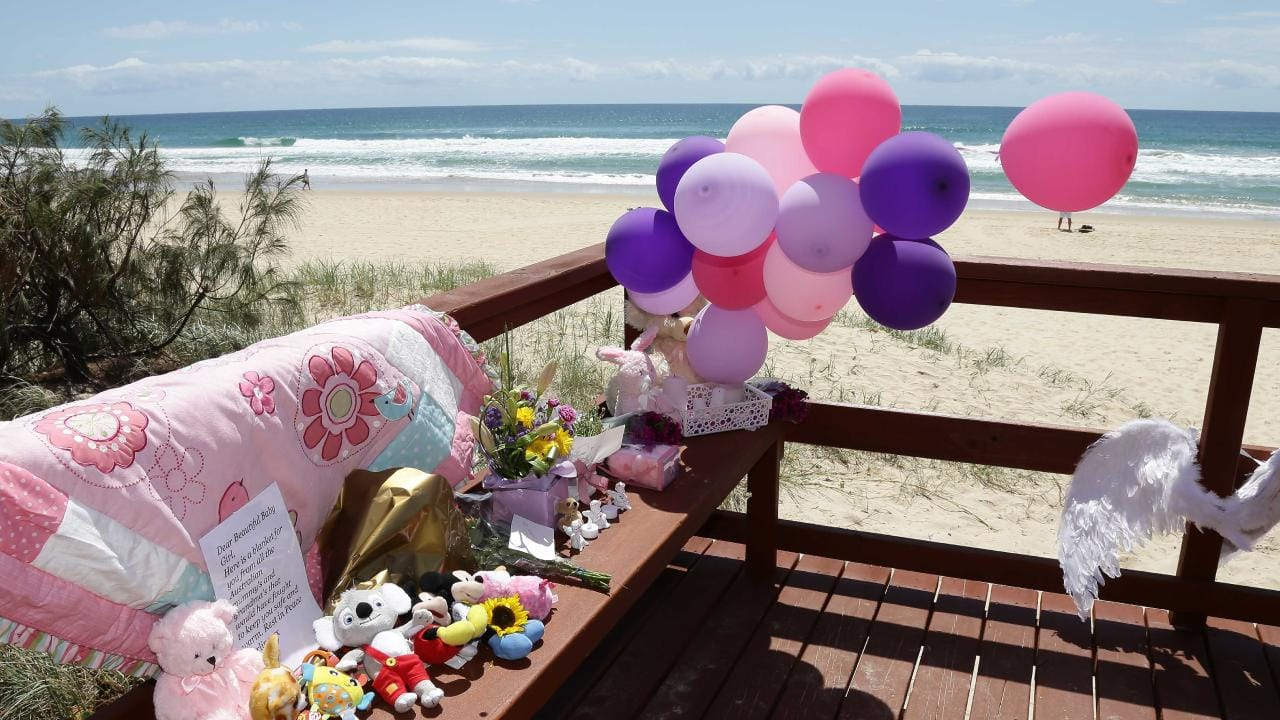 A tribute to the baby that was found dead on the beach in Surfers Paradise near Staghorn Ave. Photo: Tertius Pickard