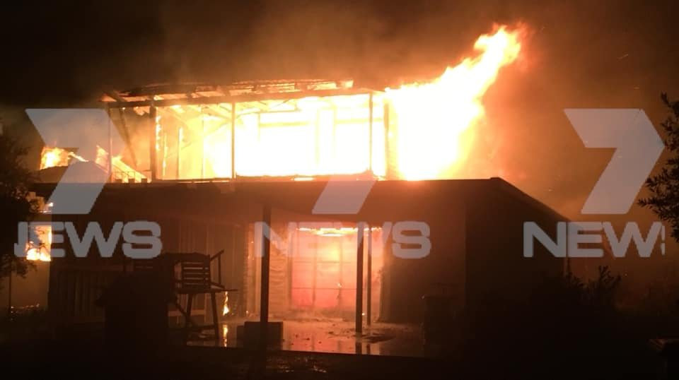 A vacant home on Gowrie Mountain School Road went up in flames around 7.50 last night.