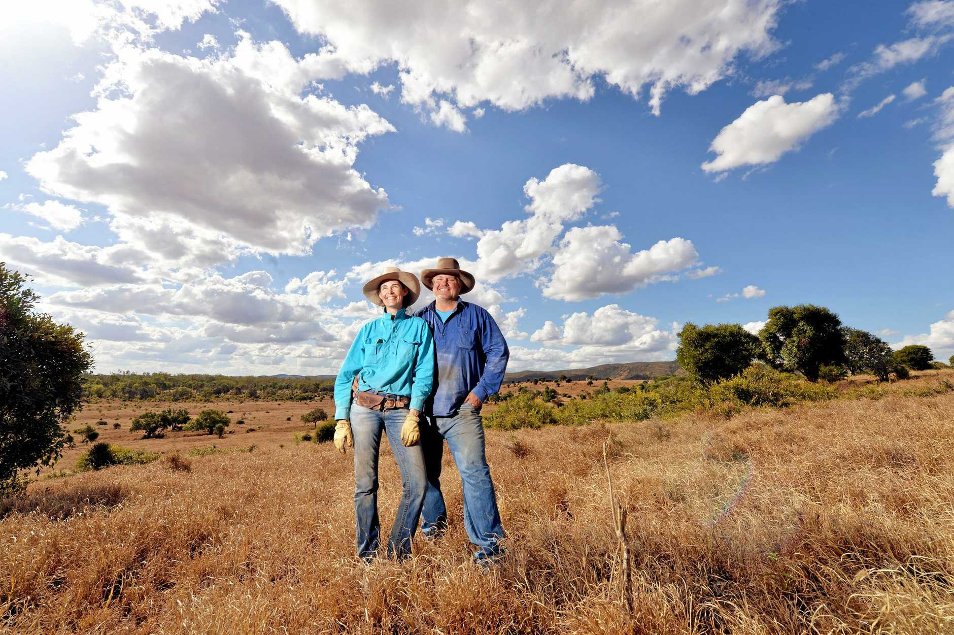 Cattle Farmers Elizabeth and David Hill, near Clarkes Creek, Isaac are about to get wind and solar farms on their properties.