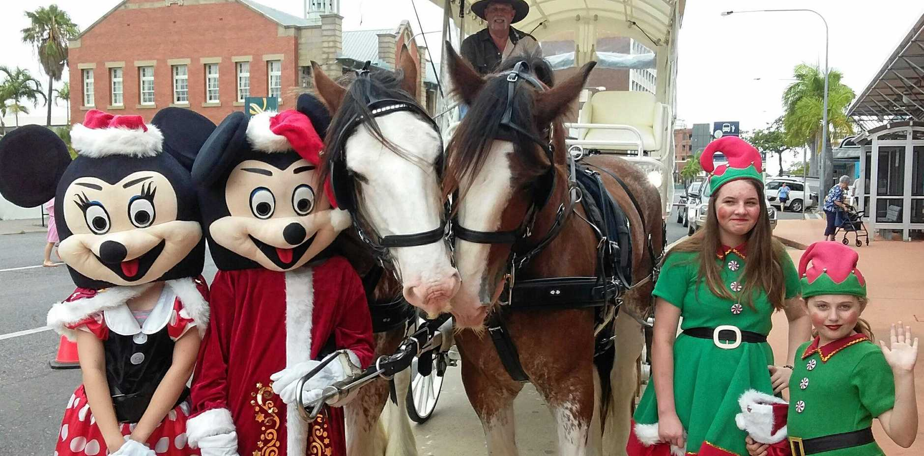 Minnie Mouse (Taylor Francis), Mickey (CB), Kenny and Finlay the Clydesdales, Steve May of Capricorn Carriages, Caitlyn Schutz and Missy-Leigh Hayes at Kerr Arcade Sunday Dec 23 2018