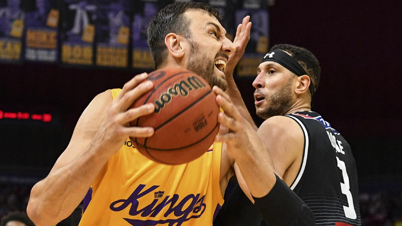 Andrew Bogut in action for the Sydney Kings against Melbourne United on Sunday. Picture: AAP