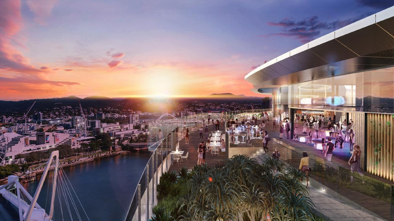 The Queen's Wharf Sky Deck is being considered as a launch site for the zipline, which would traverse the river.