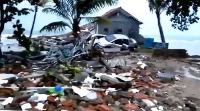 Daylight has revealed the extent of destruction caused by a tsunami in Indonesia. Source:Twitter
