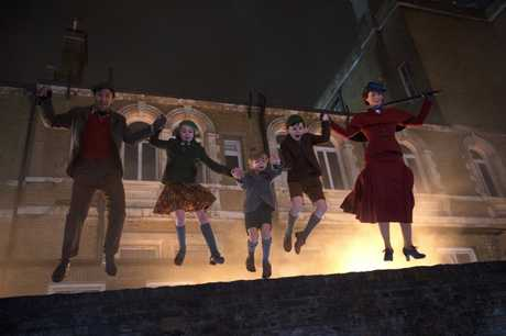 Lin-Manuel Miranda, Pixie Davies, Joel Dawson, Nathanael Saleh and Emily Blunt in a scene from the movie Mary Poppins Returns.