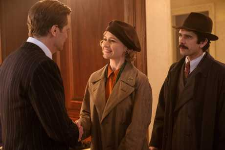 Colin Firth, Emily Mortimer and Ben Whishaw in a scene from Mary Poppins Returns.