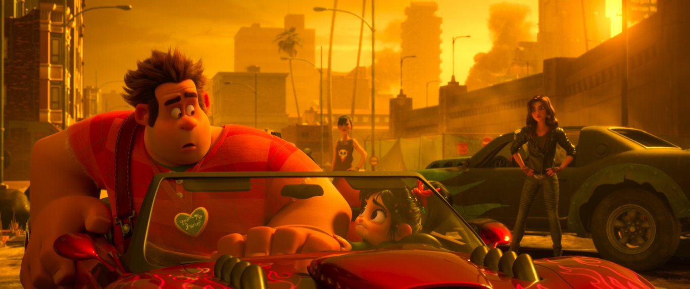 The characters Ralph (John C. Reilly), Vanellope (Sarah Silverman) and Shank (Gal Gadot) in a scene from the movie Ralph Breaks the Internet.