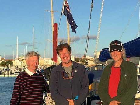 Len Jones, Jay Grant and Michael Ray docked at Vilamoura, Portugal.