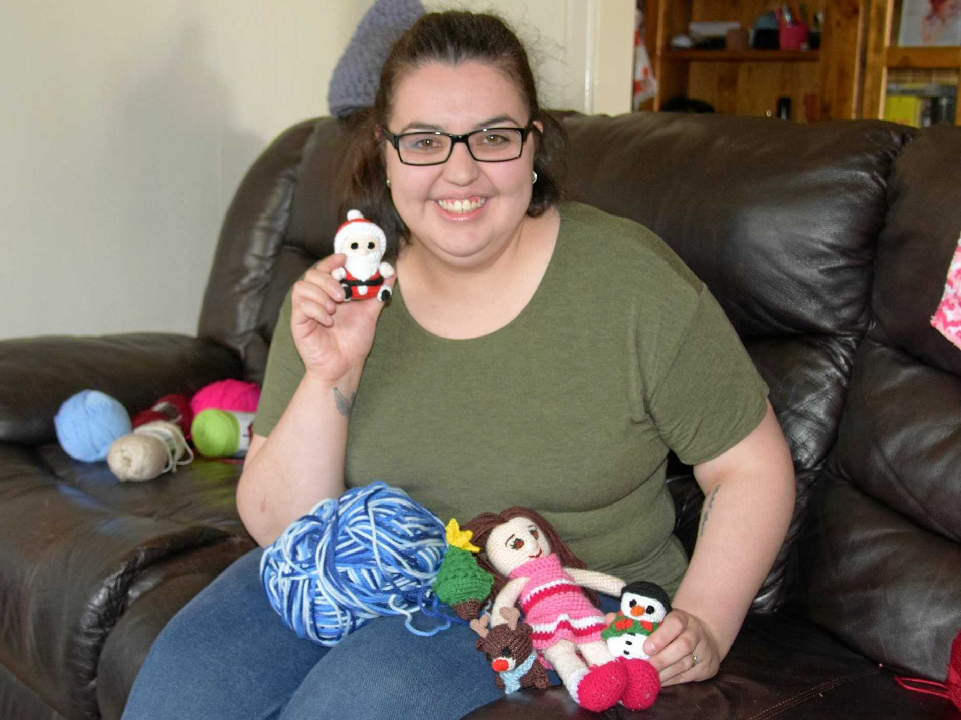 CRAFTY: Jen Rendalls is crocheting tiny characters for Christmas.