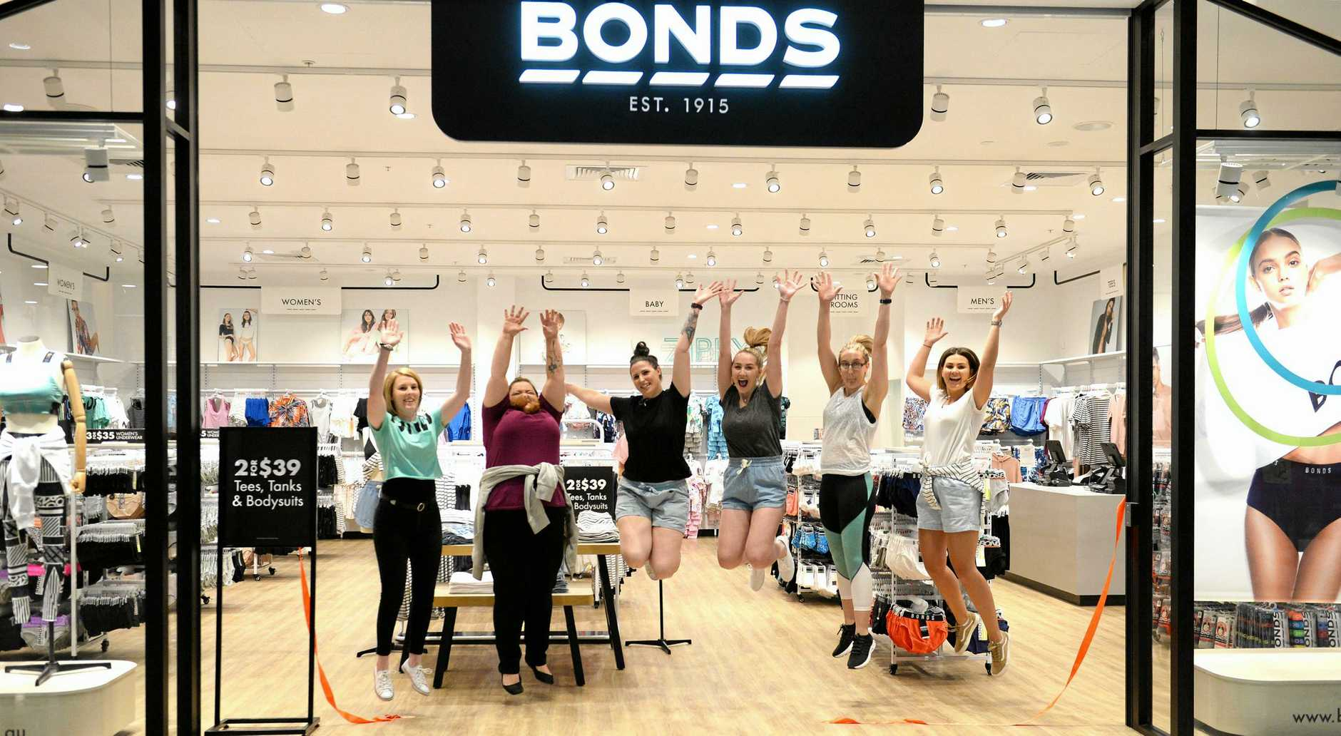 Staff celebrate the opening of the new Bonds store at Stockland.
