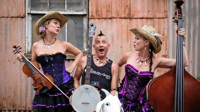 YOUR HERD IT HERE FIRST: From Left, Jacinta Simons (Goat Buster), Bryce Wearne (Goat Boy), Mahney Wearne (Goat Girl) are the Hillbilly Goats.