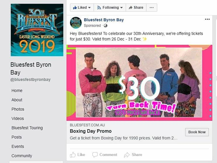 DEAL: The Bluesfest ad offering $30 tickets from Boxing Day appeared on Facebook today.