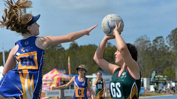 JUNIOR NETBALL: Players contest the Primary School Netball Cup at the Maroochydore Multi Sports Complex netball courts.