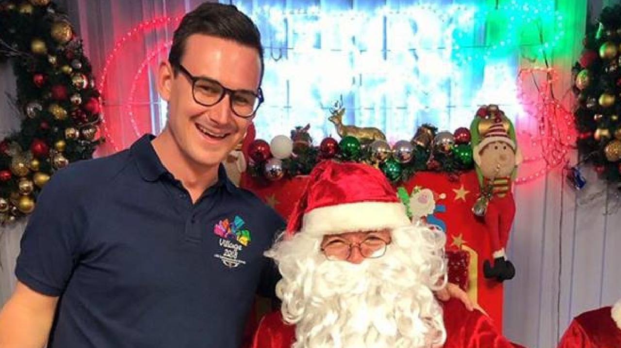 Gold Coast member for Bonney Sam O'Connor with Santa.