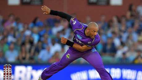 Tymal Mills bowls during the Big Bash League match between the Adelaide Strikers and the Hobart Hurricanes at Adelaide Oval on January 17. Picture: Getty