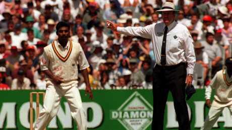 "Muttiah Muralitharan is called for ""chucking"" by umpire Darrell Hair."