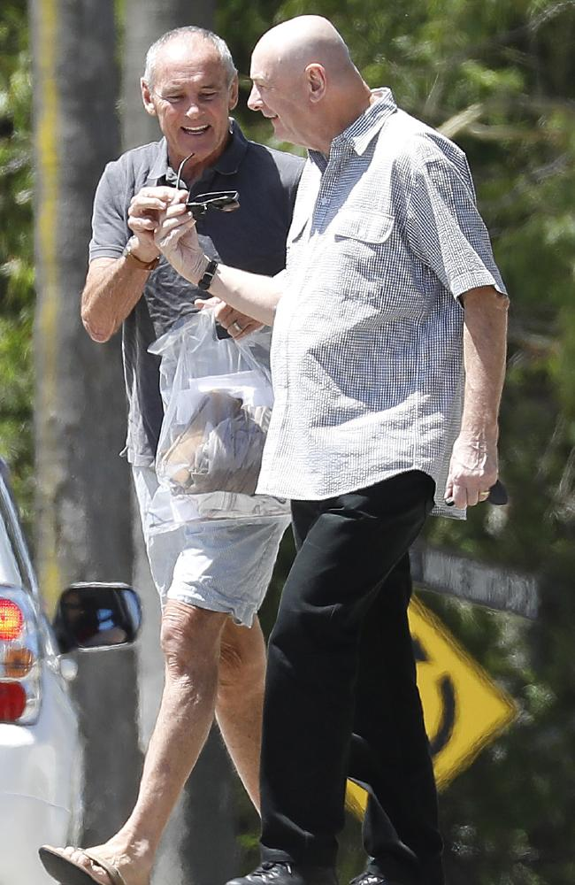 A relieved-looking Chris Dawson (left) walks out of Silverwater jail today accompanied by his brother Peter. Picture: Chris Pavlich/The Australian