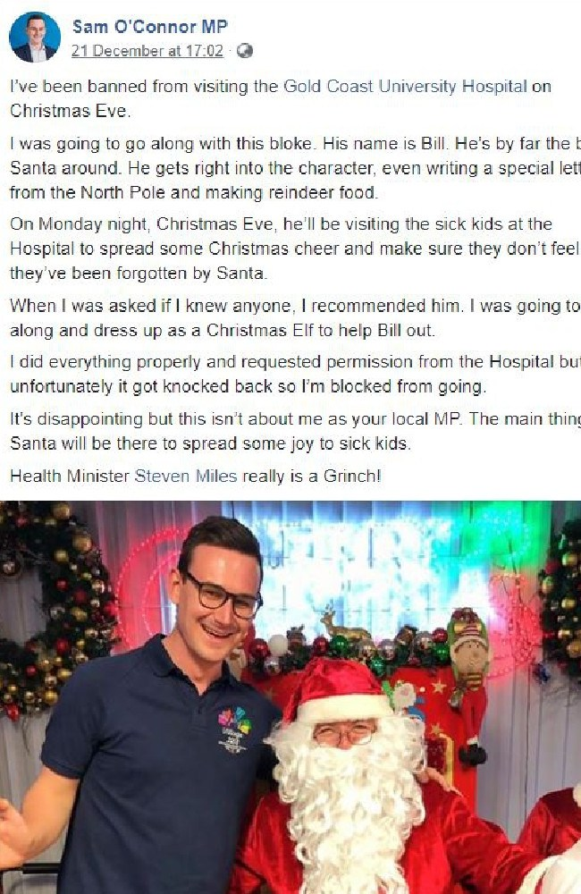 Sam O'Connor airs his Christmas grievances on his Facebook page.
