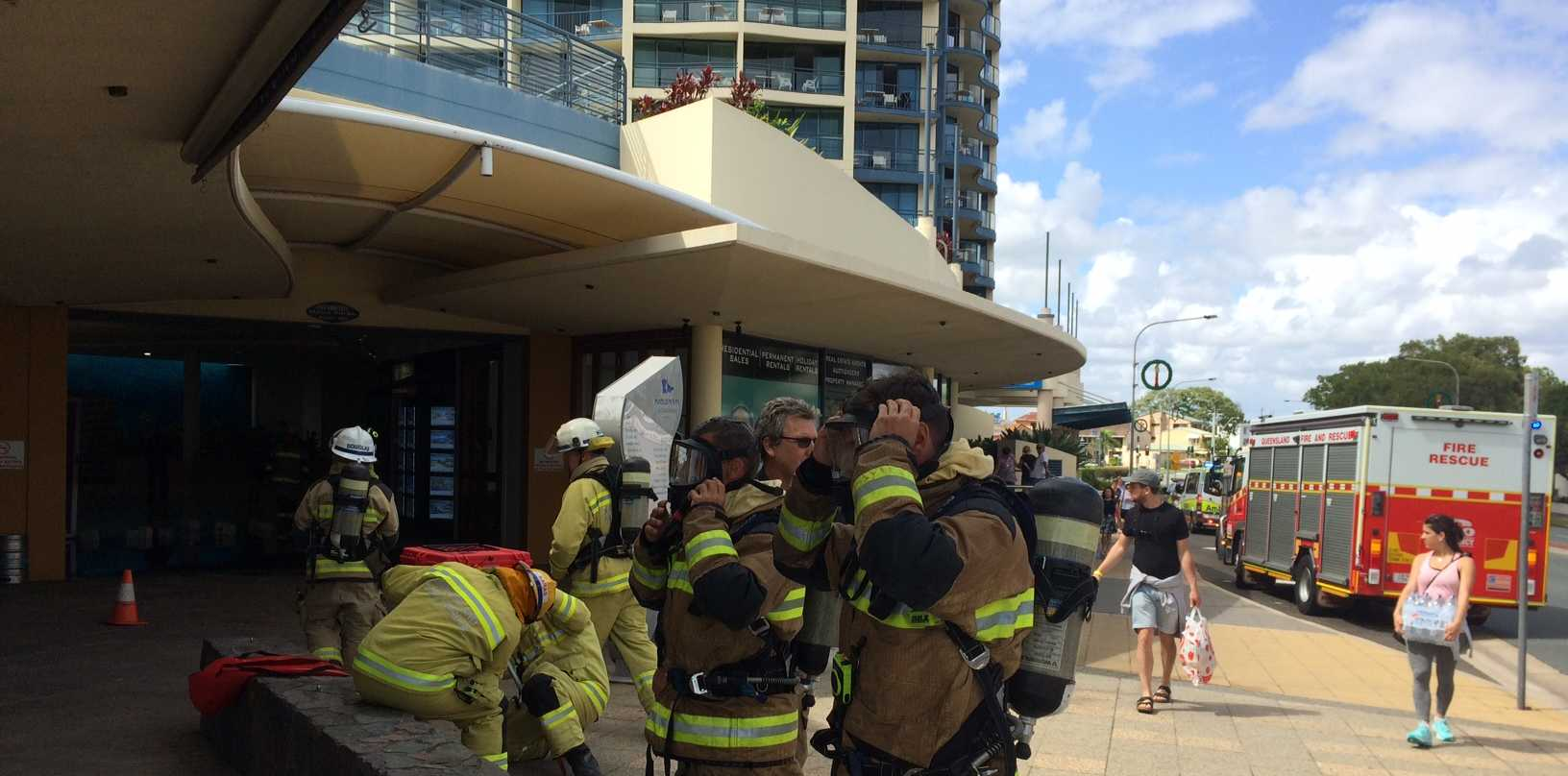 Firefighters are investigating the cause of a gas explosion at a Mooloolaba business.