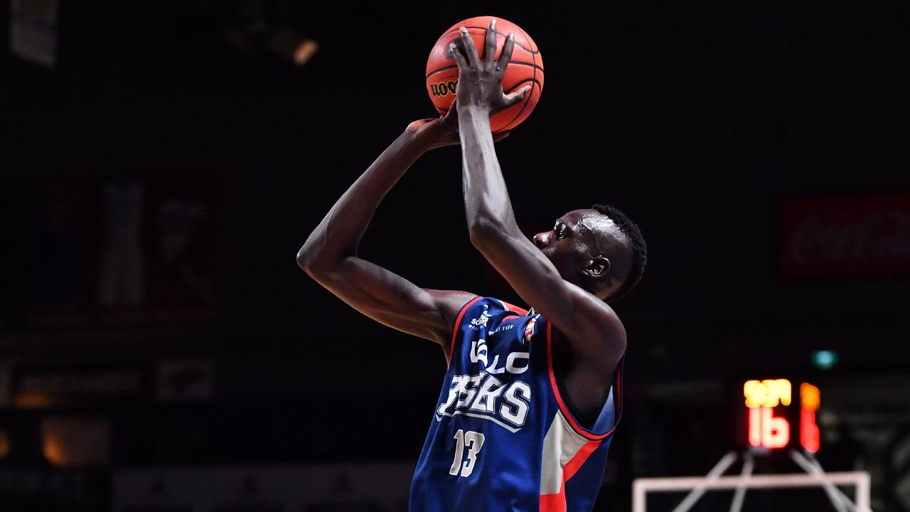 Majok Deng on his way to 17 points for Adelaide against Cairns on the weekend. Picture: Daniel Kalisz/Getty