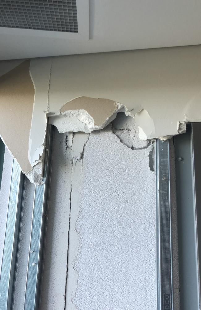 Residents fled the building on Monday after hearing cracks throughout the morning.