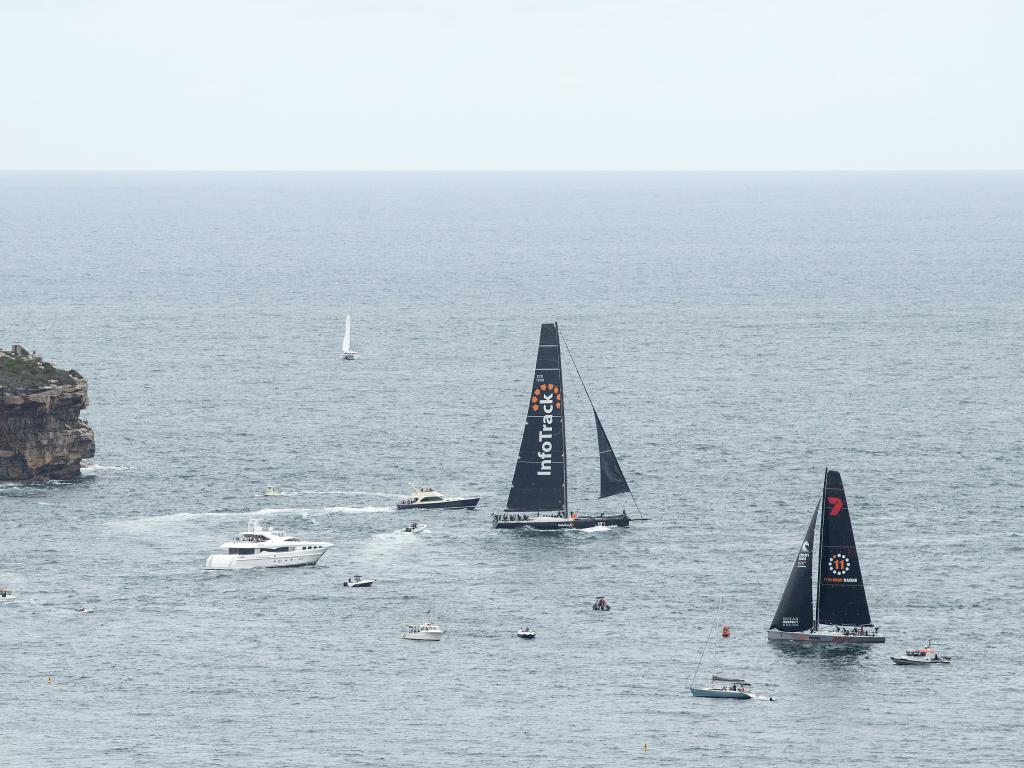 InfoTrack (top) would prefer a 'rougher' Sydney Hobart than the relatively light winds forecast. Picture: Getty Images
