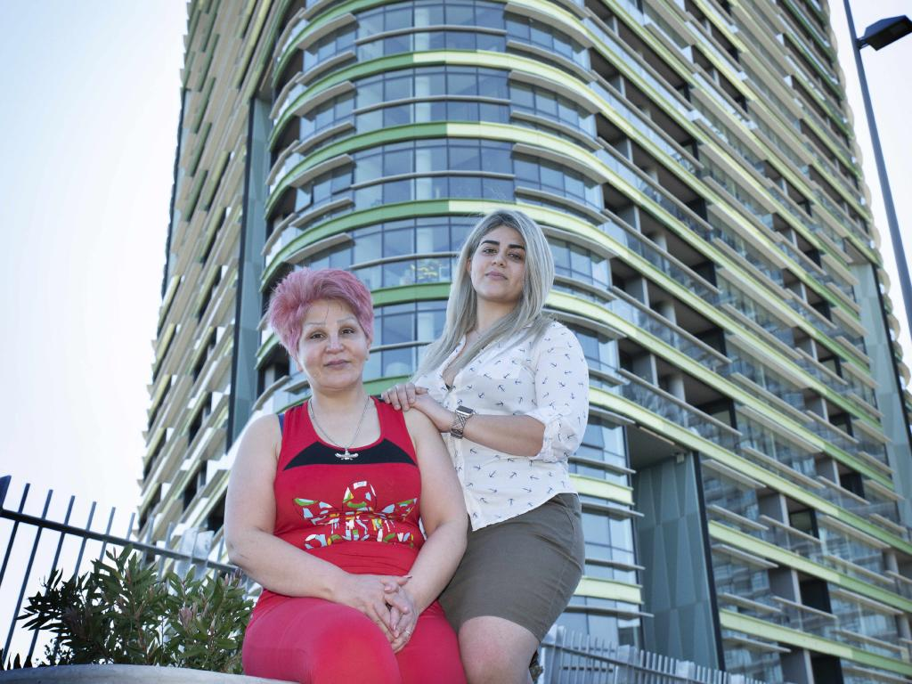 Mojagan Mohammadi and Delsa Daryaei outside of the Opal Towers. Picture: Flavio Brancaleone