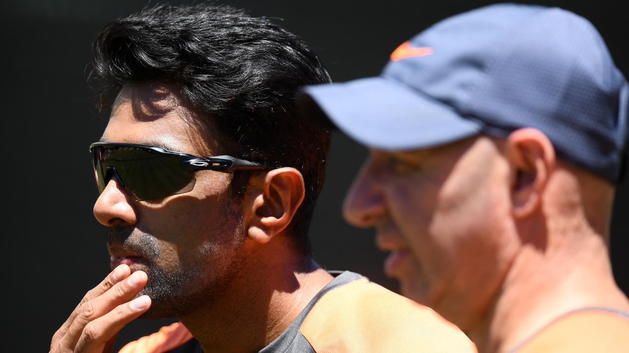 MELBOURNE, AUSTRALIA - DECEMBER 24: Ravi Ashwin of India talks to coaching staff during an India training session at Melbourne Cricket Ground on December 24, 2018 in Melbourne, Australia. (Photo by Quinn Rooney/Getty Images)