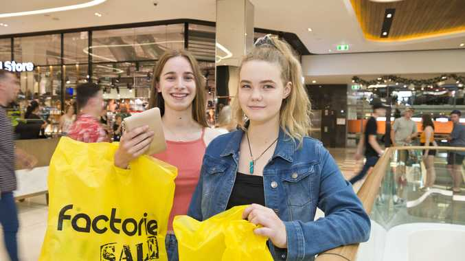 Laura Craft (left) and Liz Pragai at Boxing Day sales at Grand Central shopping centre, Wednesday, December 26, 2018.