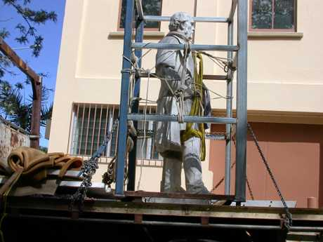 MOVING MR GLADSTONE: After a century outside Mr Gladstone's statue was moved indoors.