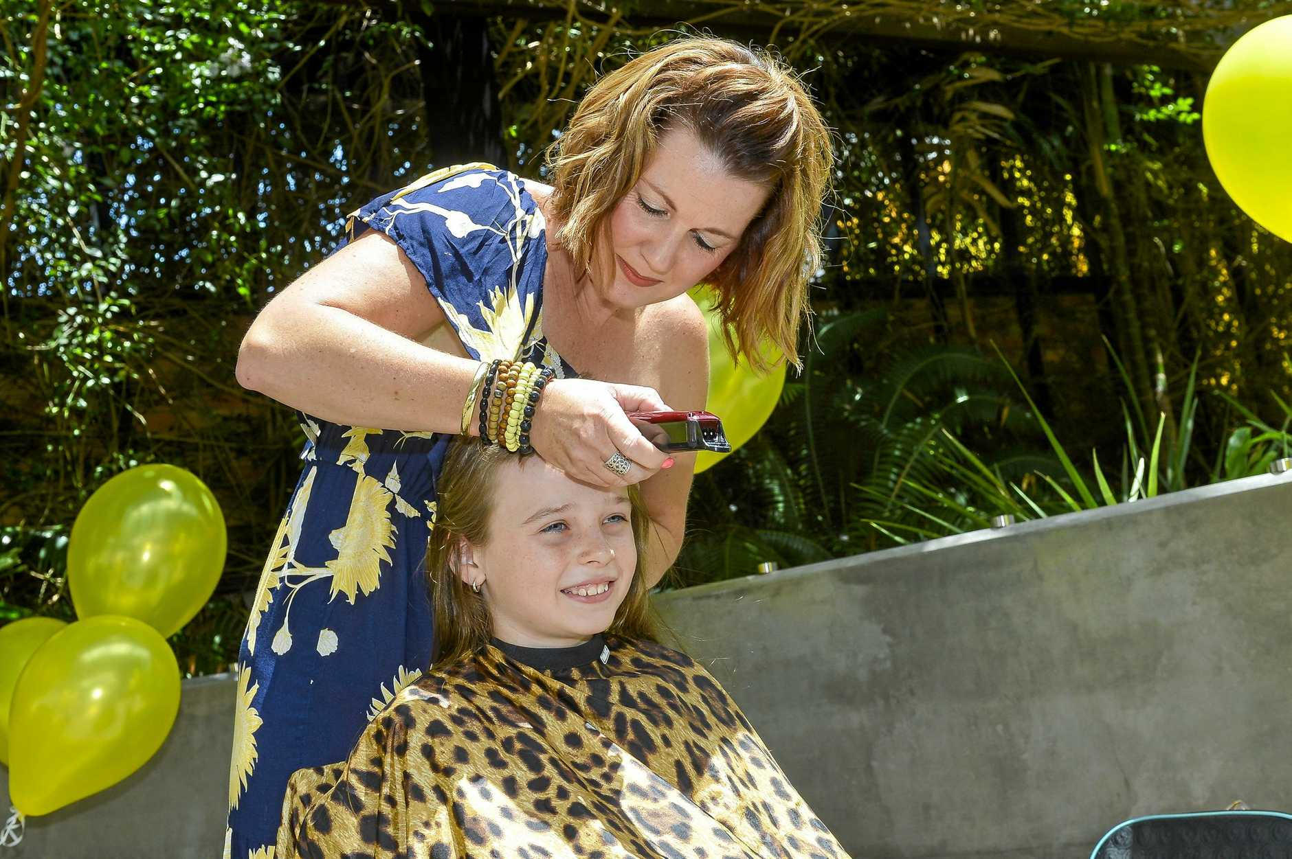 Ashlyn Martin had her head shaved by Karen Whitaker in support of her cousin Lindsay who is diagnosed with a form of aggressive cancer.