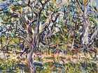 Marvene Ash's Brigalow Creek Evening (Doolan Tree) 2018 at Maroochydore Library Art Space.