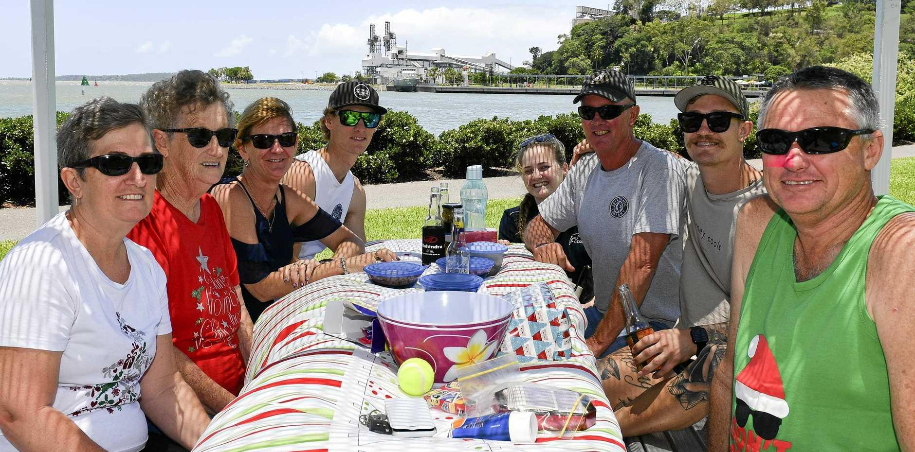The Dahl family at the marina. Michelle, Barb, Michelle, Btody, Mel, Graeme, Rhys and Gary.