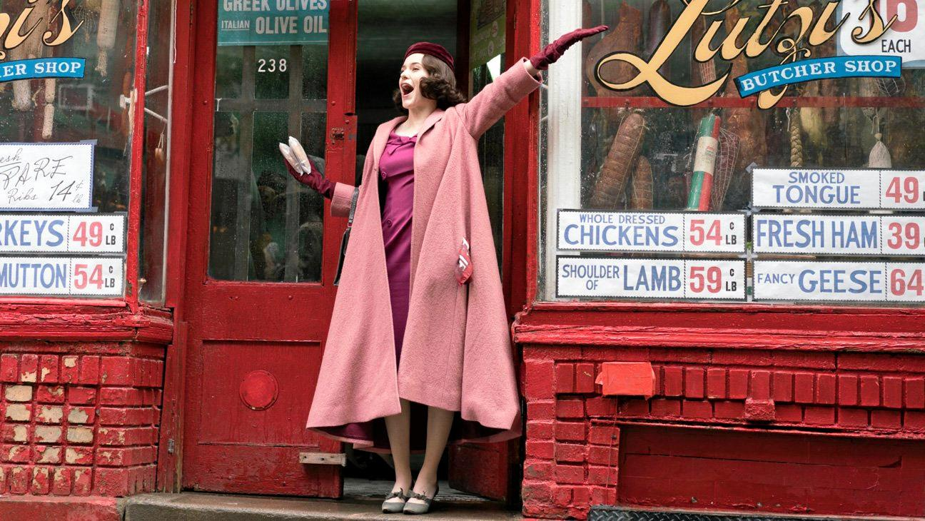 Rachel Brosnahan in a scene from the TV series The Marvelous Mrs Maisel. Supplied by Amazon.