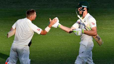 It seems an eon ago, but David Warner and Cameron Bancroft were once building a solid partnership at the top of the Aussie order. Picture: AAP